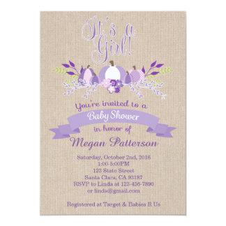 It's a Girl- Lavender Pumpkins Baby Shower Invite