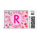 """IT'S A GIRL LETTER """"R"""" PINK POLKA DOTS POSTAGE STAMP"""