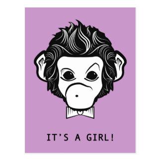 it's a girl! lil monkey postcard