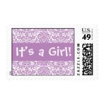 It's a Girl! Lilac and White Damask Postage