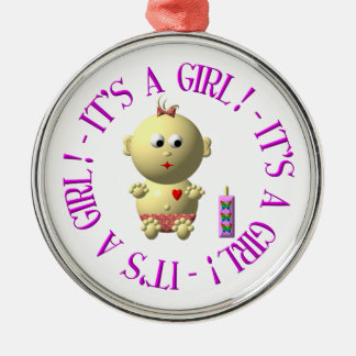 It's a girl! metal ornament