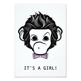 "it's a girl! mister monkey 3.5"" x 5"" invitation card"