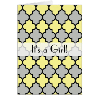 It's a Girl - Moroccan Trellis - Yellow Gray Cards