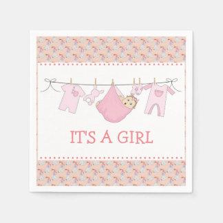 It's a Girl Napkins - Clothes Line Design