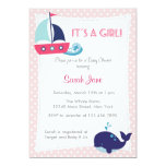 It's A Girl Nautical Sailboat Baby Shower Invite