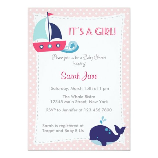 it 39 s a girl nautical sailboat baby shower invite personalized