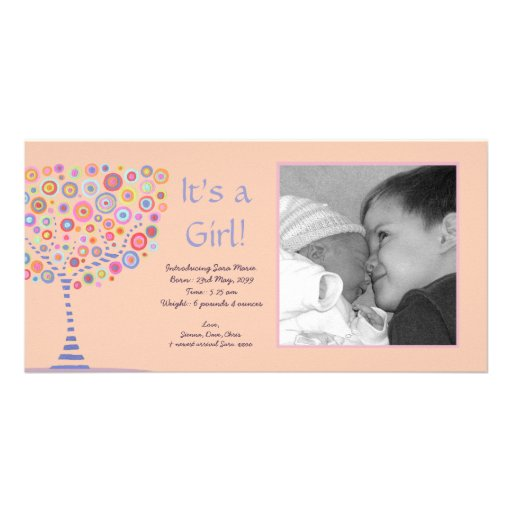 It's a Girl New Baby Announcement Gift Photocard Personalized Photo Card