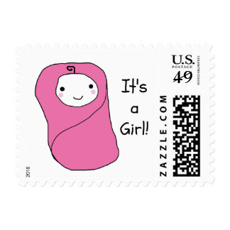 It's a Girl New Baby Birth Announcement Postage
