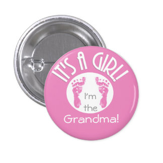 It's a Girl! New Baby Button for Relatives - Round