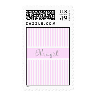 It's a girl,New Baby ,Pink,Stripes Postage Stamp