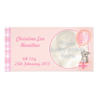 """It's a girl"" newborn baby announcement card"