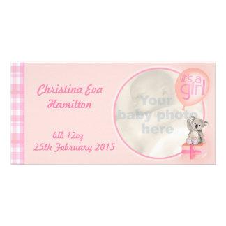 """It's a girl"" newborn baby announcement card Photo Card"