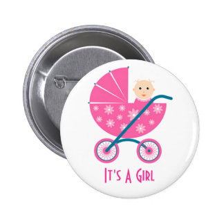 It's A Girl: Newborn Baby Save The Date Button