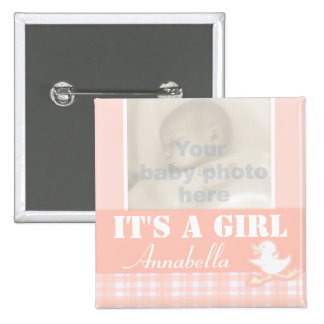 """It's a girl"" newborn photo and name peach badge Pinback Button"