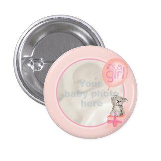 """It's a girl"" newborn photo koala peach badge 1 Inch Round Button"