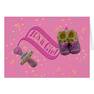 It's a Girl Pacifier Shoes Baby Shower