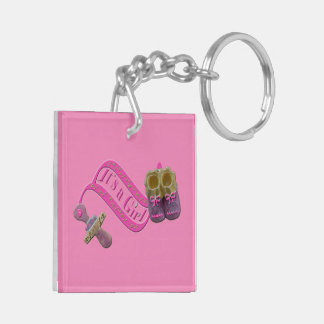 It's a Girl Pacifier Shoes Keychain