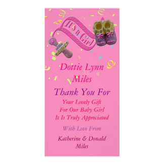 It's a Girl Pacifier Shoes Thank You Card