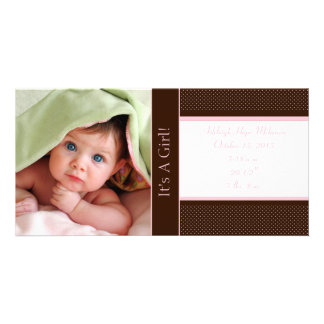 It's A Girl -Photo Card Stats Deep Brown Pink Dots