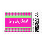 It's A Girl! Pink and Green Plaid Postage Stamp