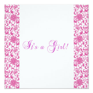 It's a girl pink and white baby shower invitation