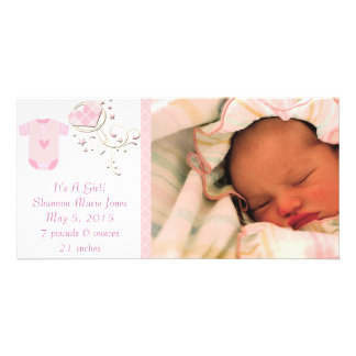 It's A Girl Pink Argyle Cute New Baby Announcement