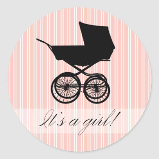 It's a Girl! Pink Baby Buggy Sticker