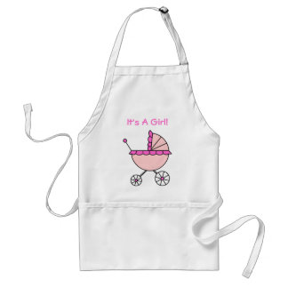 It's A Girl! Pink Baby Carriage Adult Apron