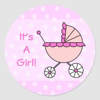 It's A Girl! Pink Baby Carriage Classic Round Sticker