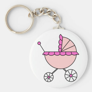 It's A Girl! Pink Baby Carriage Keychain