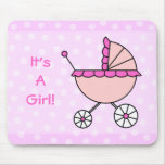 It's A Girl! Pink Baby Carriage Mouse Pad