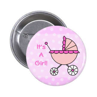 It's A Girl! Pink Baby Carriage Pinback Button