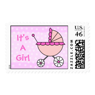 It's A Girl Pink Baby Carriage Postage Stamp