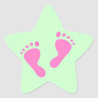 It's a Girl - Pink Baby Feet Star Sticker