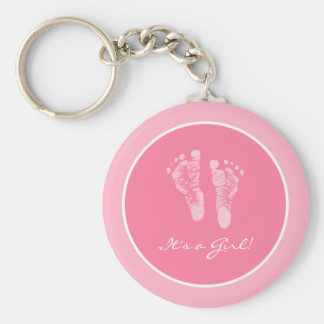 Its a Girl Pink Baby Footprints Birth Announcement Keychain
