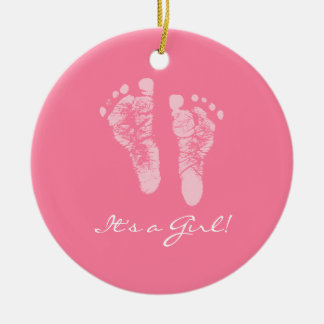 Its a Girl Pink Baby Footprints Birth Announcement Ornaments