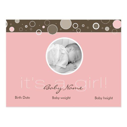 It's a Girl! - Pink Baby Girl Custom Postcard