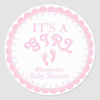 It's A Girl-Pink Baby Shower Favor Classic Round Sticker