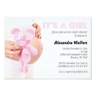 It's a Girl Pink Baby Shower Invitation