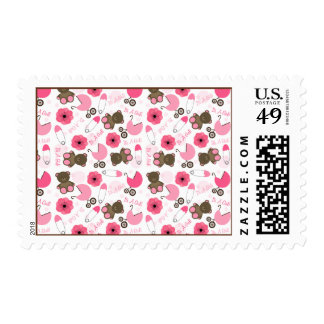 It's A Girl Pink Baby Shower Pattern Postage
