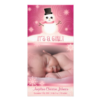 """""""It's a Girl!"""" Pink Baby Snowman Card"""