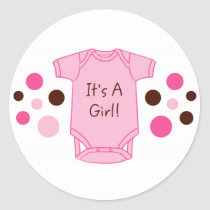It's A Girl Pink Baby Stickers Envelope Seals