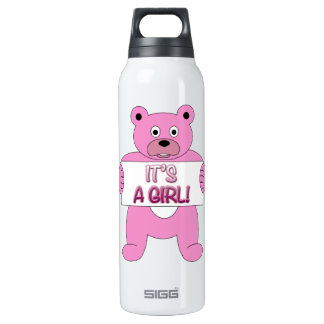 It's A Girl Pink Bear 16 Oz Insulated SIGG Thermos Water Bottle