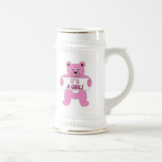 It's A Girl Pink Bear 18 Oz Beer Stein