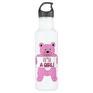 It's A Girl Pink Bear 24oz Water Bottle
