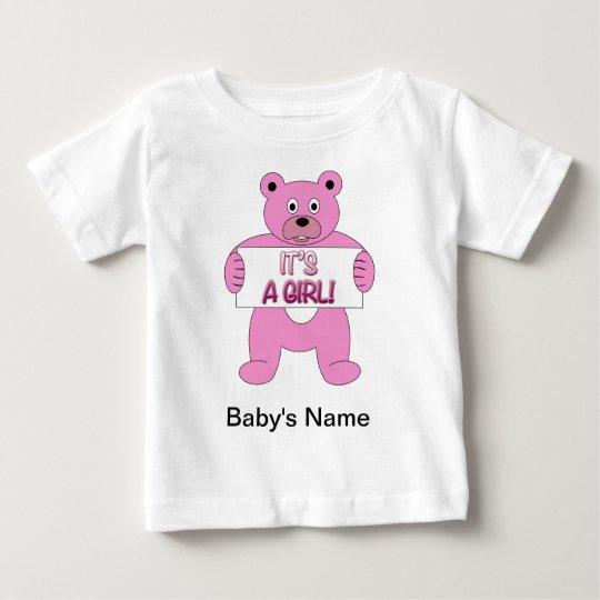 It's A Girl Pink Bear Baby T-Shirt