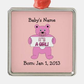 It's A Girl Pink Bear Metal Ornament
