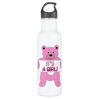 It's A Girl Pink Bear Stainless Steel Water Bottle