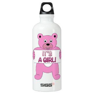 It's A Girl Pink Bear Water Bottle