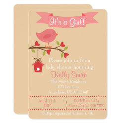 It's a Girl Pink Bird Baby Shower Invitation